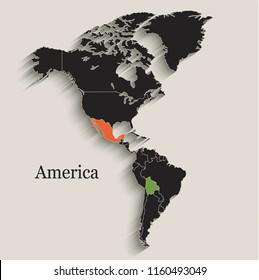America map Black colors blackboard separate states individual vector