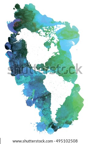 America Map Continents On Watercolor Background Stock Vector ...