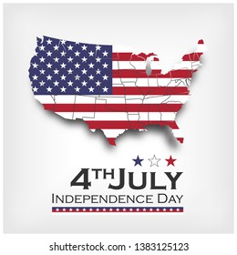 America map and flag . independence day of USA 4th July . Vector .