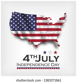 America map and waving flag . independence day of USA 4th July . Vector .
