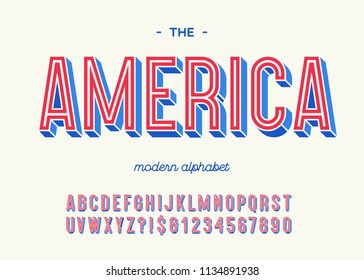 America modern alphabet 3d typography colorful style for decoration, party poster, t shirt, logo, promotion, book, card, sale banner, printing on fabric. Cool font. Trendy typeface. Vector 10 eps