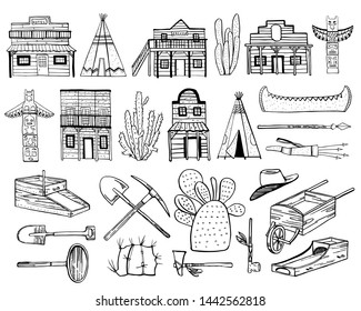 America Old West set. Native American Indians, town houses and mining objects. Hand drawn outline sketch doodle vector illustration black on white background