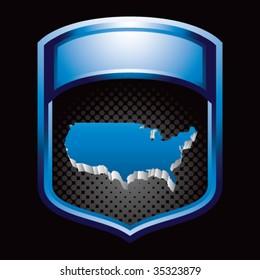 america shape on blue display