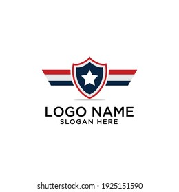 america shield and wing logo design modern vector template