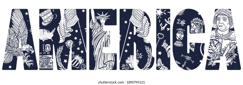 America slogan. Statue of liberty, eagle, flag, map. History and culture. Traditional USA patriotic concept. United States of America art. Old school tattoo vector style