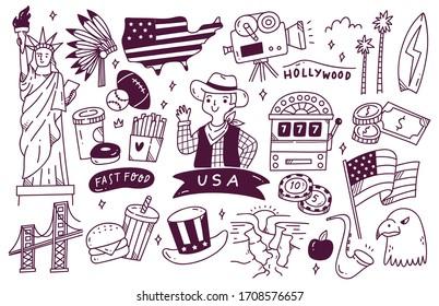 America Travel Destination Doodle Set Vector Illustration