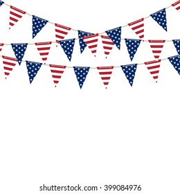 America triangle flag garland on white background. Vector