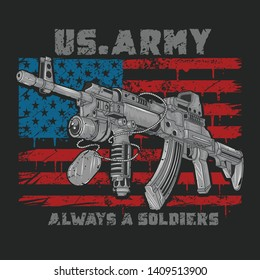 AMERICA USA ARMY MACHINE GUN WITH USA FLAG GRUNGE VECTOR