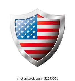 America USA flag on metal shiny shield vector illustration. Collection of flags on shield against white background. Abstract isolated object.