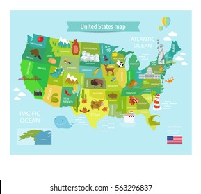 america vector map with states. US Pets, Statue of Liberty, White House, cowboys, Lighthouse, Washington, New York, Minnesota, Nevada, Texas, Mexico. The poster, education, school.