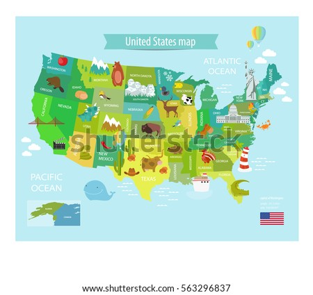 America Map Of States.America Vector Map States Us Pets Stock Vector Royalty Free