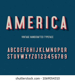 america vintage handcrafted 3d alphabet. retro font. vector illustration