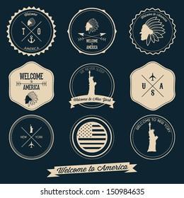 America Vintage Label Design
