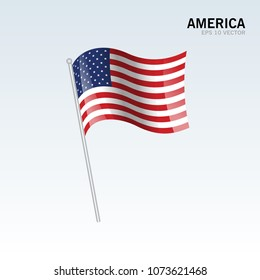 America waving flag isolated on gray background