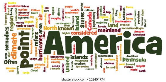 America words cloud on white
