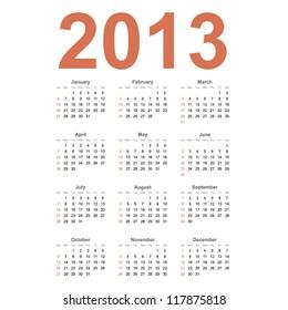 American 2013 year vector calendar