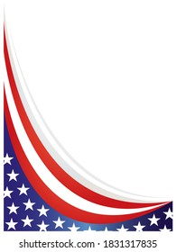 American abstract flag border background with an empty space for text.