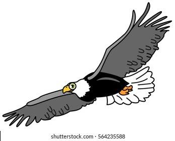 American adorable symbol - flying grey eagle on freedom. Happy big bird with large wings. Simple vector childish illustration for toddlers and kids. Mascot or game character icon.
