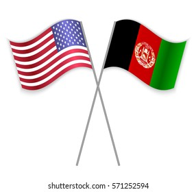 American and Afghan crossed flags. United States of America combined with Afghanistan isolated on white. Language learning, international business or travel concept.