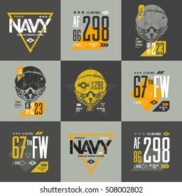 American air force grunge number t-shirt design vector set. Aviation pilot helmet t-shirt emblem. Aircraft illustration and military number t-shirt logo concept. T-shirt artwork tee print. Navy poster