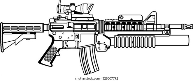 american automatic assault rifle with grenade launcher