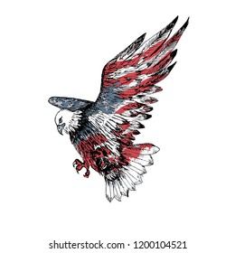 American bald eagle. Hand drawn illustration. Sketch. Watercolor american flag texture. USA symbol.