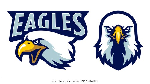American Bald Eagle Head Logo Mascot in Cartoon Style