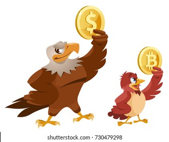 American Bald eagle holding dollar symbol and sparrow holding bitcoin symbol. Cartoon styled vector illustration. Elements is grouped. Isolated on white. No transparent objects.
