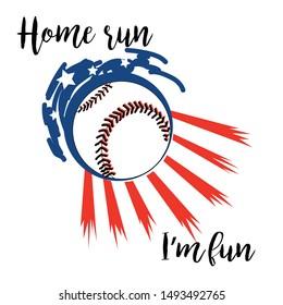American baseball illustration. Home run.