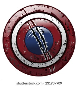 American Battle Worn Grungy Damaged Round Shield, Vector Illustration isolated on White Background.