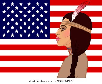 American beauty: beautiful American Indian woman with braided hair and feather against American flag. Vector illustration.