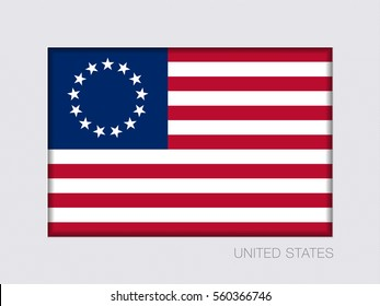 American Betsy Ross Flag. Aspect Ratio 2 to 3. Under Gray Cardboard with Inner Shadow