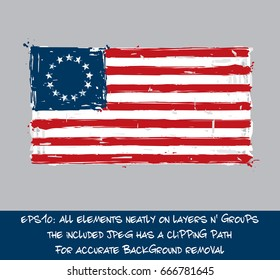 American Betsy Ross Flat Flag - Vector Artistic Brush Strokes and Splashes. Grunge Illustration, all elements neatly on layers and groups. The JPEG has a clipping path for accurate background removal