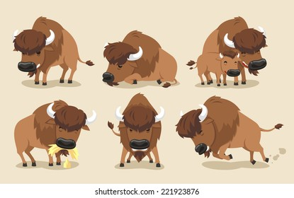 American Bison Buffalo Set, with Bison in six different views, front view, side view, with calf. Vector illustration cartoon.