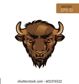 American Bison Bull Mascot Head Vector Illustration. Buffalo Head Animal Symbol Isolated On White Background.