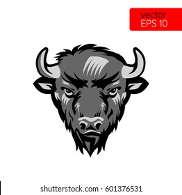 American Bison Bull Mascot Head Vector Illustration. Black And White Buffalo Head Animal Symbol Isolated On White Background.