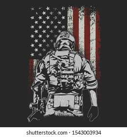 american brave soldier illustration vector