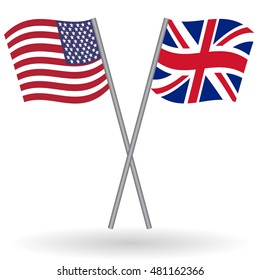 American and British crossed flags. United States of America combined with United Kingdom isolated on white. Language learning, international business or travel concept.