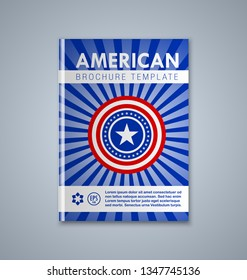 American brochure or book cover template on grey background