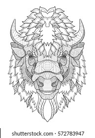 American buffalo head zentangle stylized, vector, illustration, freehand pencil, hand drawn, pattern. Zen art. Ornate vector. Black and white illustration on white background.