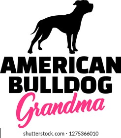 American Bulldog Grandma silhouette in black