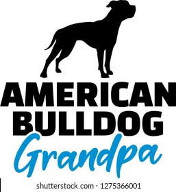 American Bulldog Grandpa silhouette in black