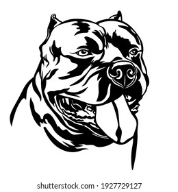 American Bully Dog, black silhouette isolated on white