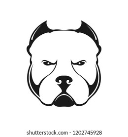 American bully dog logo on white background. Black and white portrait of a dog. Vector.