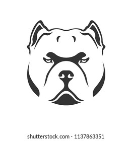 American bully icon. Bully dog head vector template. Black on white.