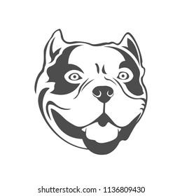 American bully logo. Bully's dog head. Dog logo.