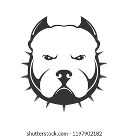 American bully logo. Portrait of angry dog in collar with thorns. Dog logo. Vector illustration of dog head on white background.