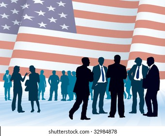American businesspeople with national flag, conceptual business illustration.