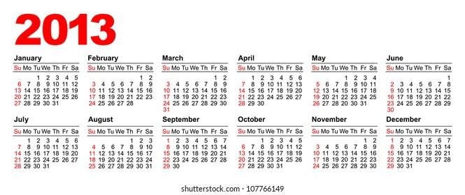 American calendar for 2013 in vector (horizontal)