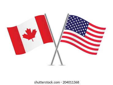 American and Canadian flags. Vector illustration.